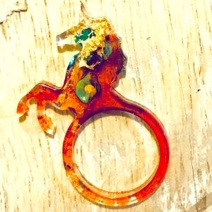 Red green and hold unicorn resin ring